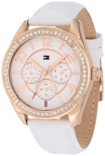8a14df85bb9 Tommy Hilfiger Women`s 1781251 Sport Rose Gold White Leather Multi-Function  Watch  114.38