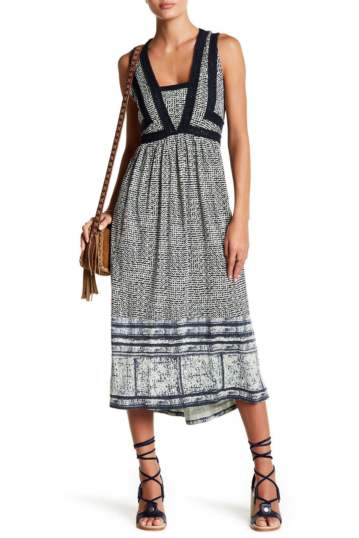 Crochet Trim Print Dress by Lucky Brand on @nordstrom_rack