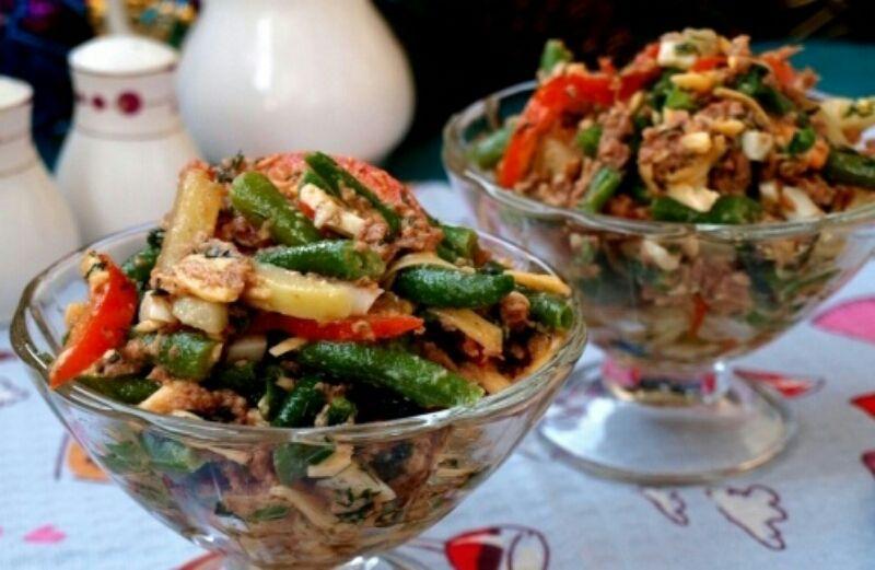 """Аппетитный салат со стручковой фасолью """"Париж"""": пошаговый ..."""