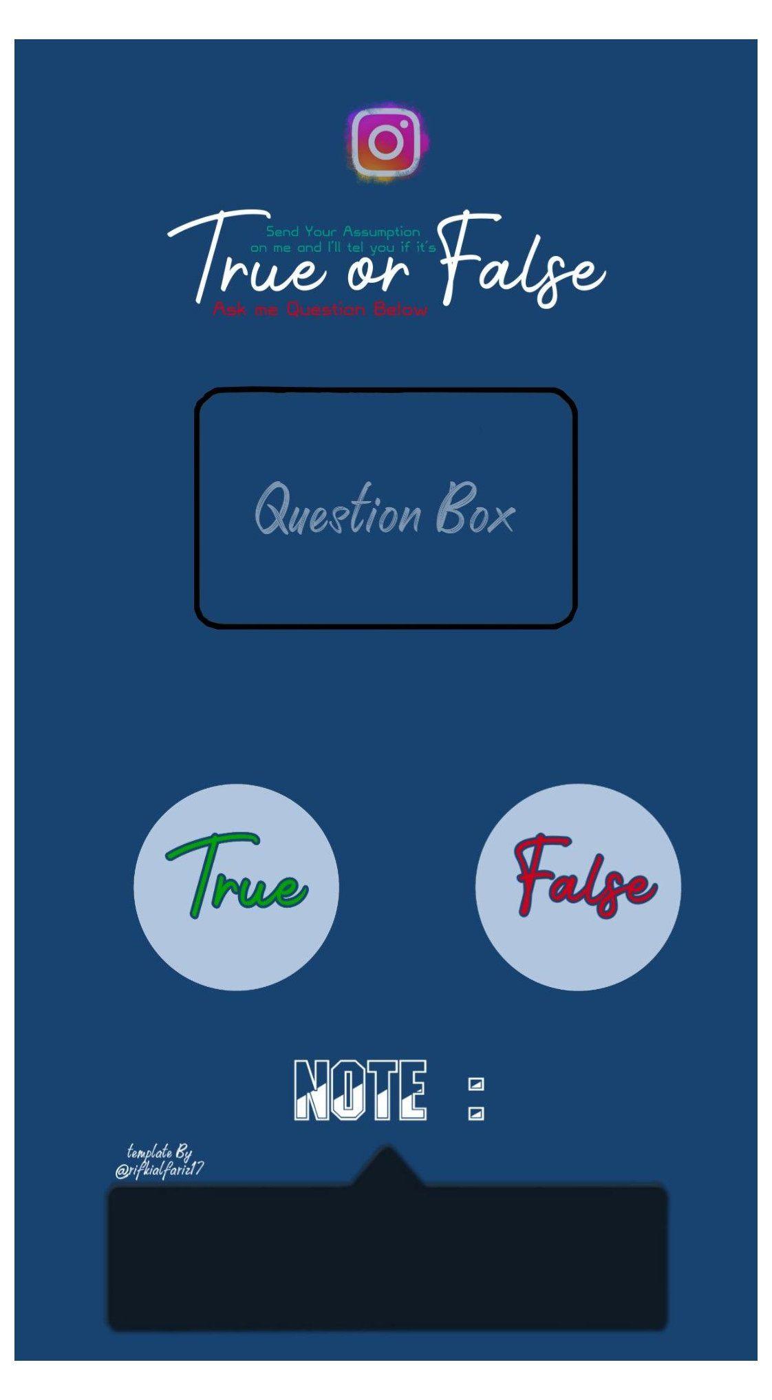 Ig Story Template True Or False Igstorytemplatetrueorfalse In 2021 Instagram Questions Question Box Instagram Story Template Instagram Story Template True or false quiz template