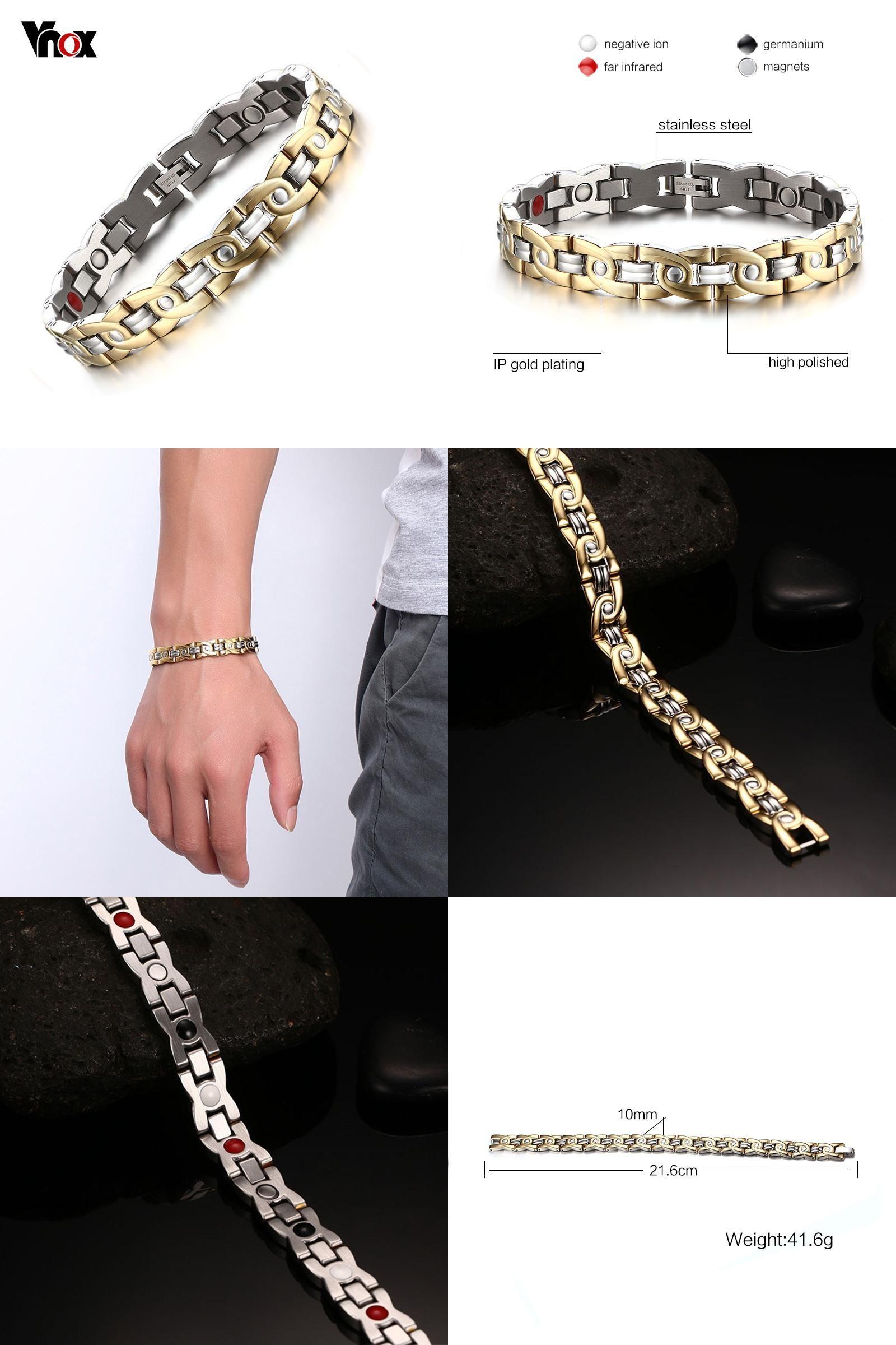 Visit to buy vnox menus magnetic bracelets u bangles goldcolor