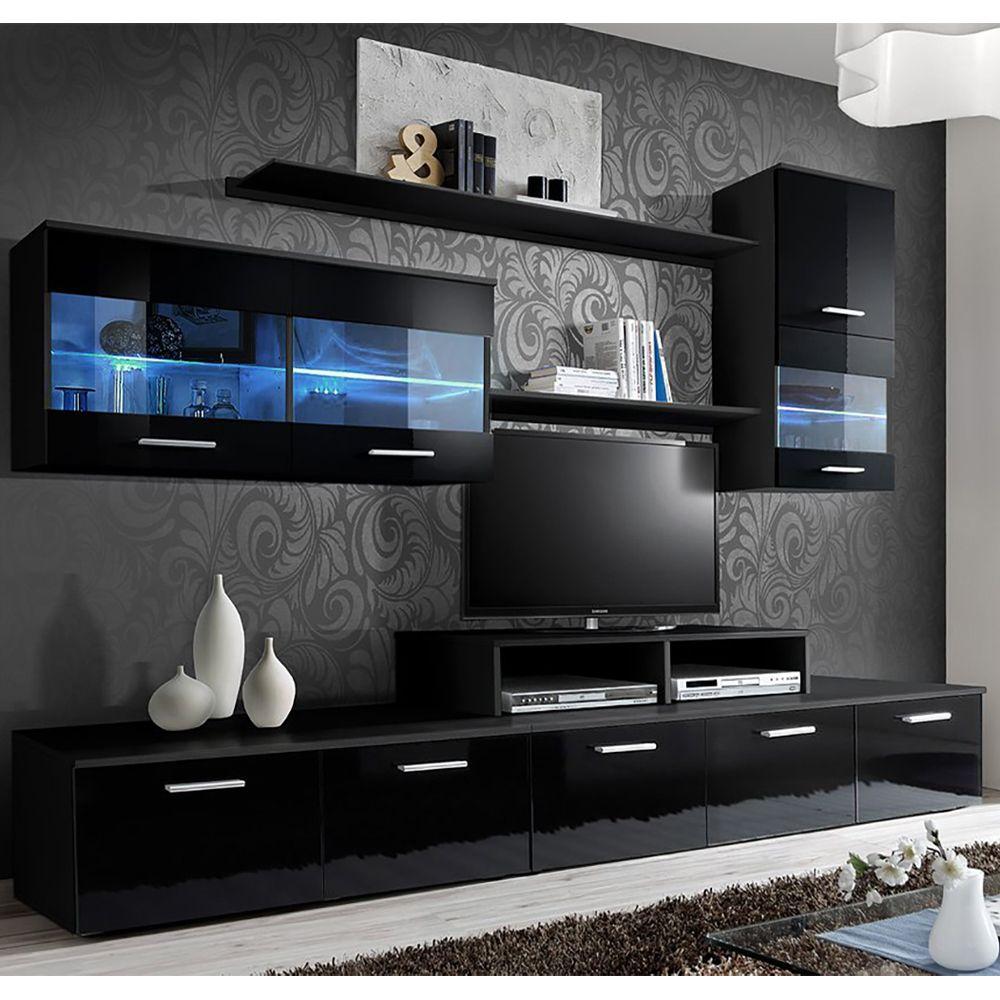Paris Black Wall Unit Paris Meble Furniture Wall Units Furniture Design Living Room Sofas Living Room Tv Unit Designs Wall Tv Unit Design