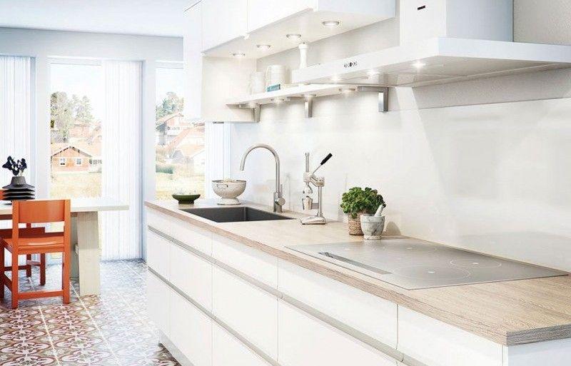 Crédence effet verre blanc 300 x 64 cm Cuisine Pinterest - plan de travail cuisine rouge