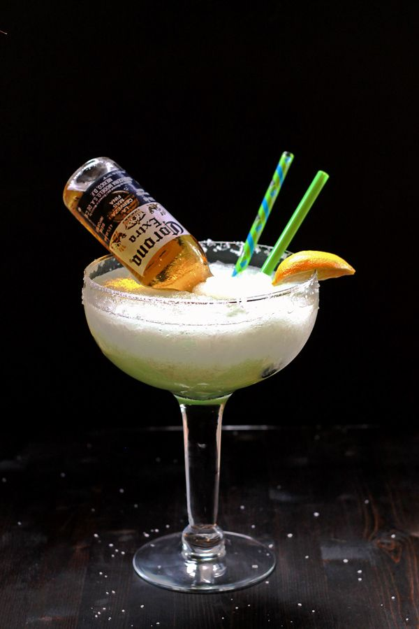 A pimped out blended Lime Margarita! Made all that much better with a Corona upside down inside...