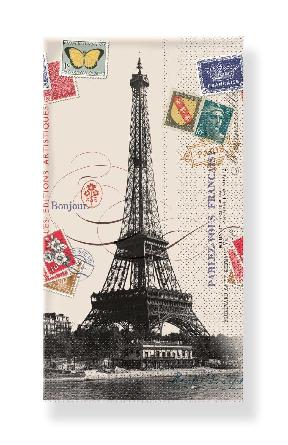 Amazon.com: Napkin/Guest Towel - Eiffel Tower w/Vintage Postal Stamps - Pkg of 32, a GREAT VALUE: Kitchen & Dining .47 cents each