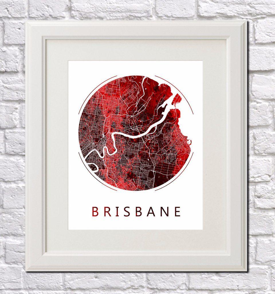 Brisbane, Australia City Street Map Custom Wall Map Poster | Custom ...