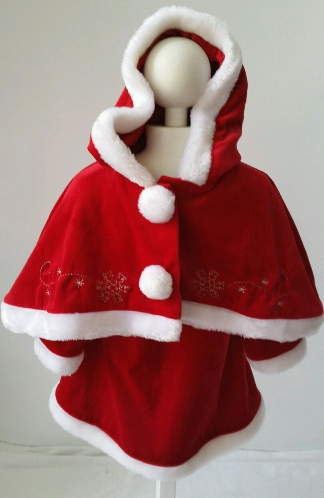 Baby Girl Toddler Christmas Outfit Santa Claus Dress Shawl Set Size ...