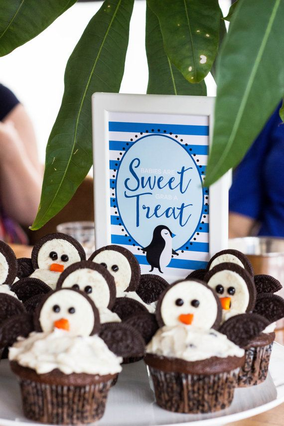 Nice Babies Are Sweet Table Sign From A Blue Penguin Baby Shower