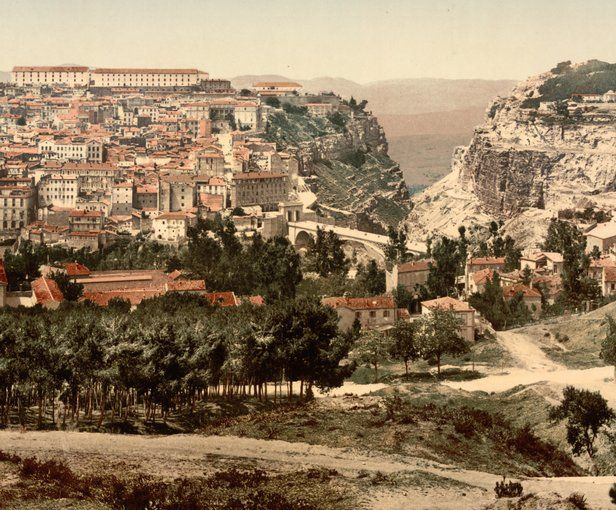 """General View, Constantine, Algeria-A center of trade and invasion for centuries, Constantine attracted Arabs, Genoese, Venetians, displaced Jews, and Ottoman Turks. Baedeker's described part of the town as """"resembling the Kasba of Algiers, the picturesque charm of which has so far been marred by the construction of but a few new streets."""""""