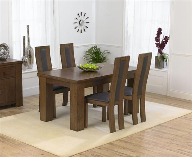 Pacific Dark Solid Oak Furniture Small Dining Table And 4 Havana Chairs Set Small Dining Room Decor Dining Room Small Small Square Dining Table