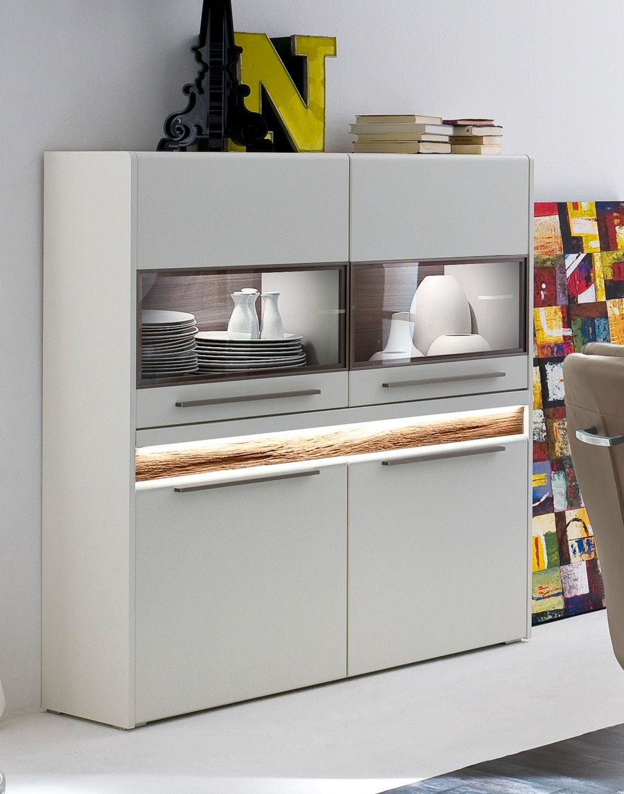 Highboard Weiss Matt   Abs: Eiche Massiv Saltos
