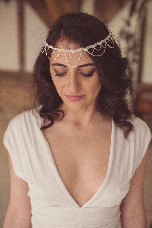 bridal forehead band wedding headpiece by blossomandbluebird | hair