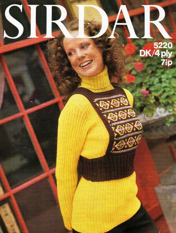 ladies sweater & tank top knitting pattern PDF womens ribbed polo ...