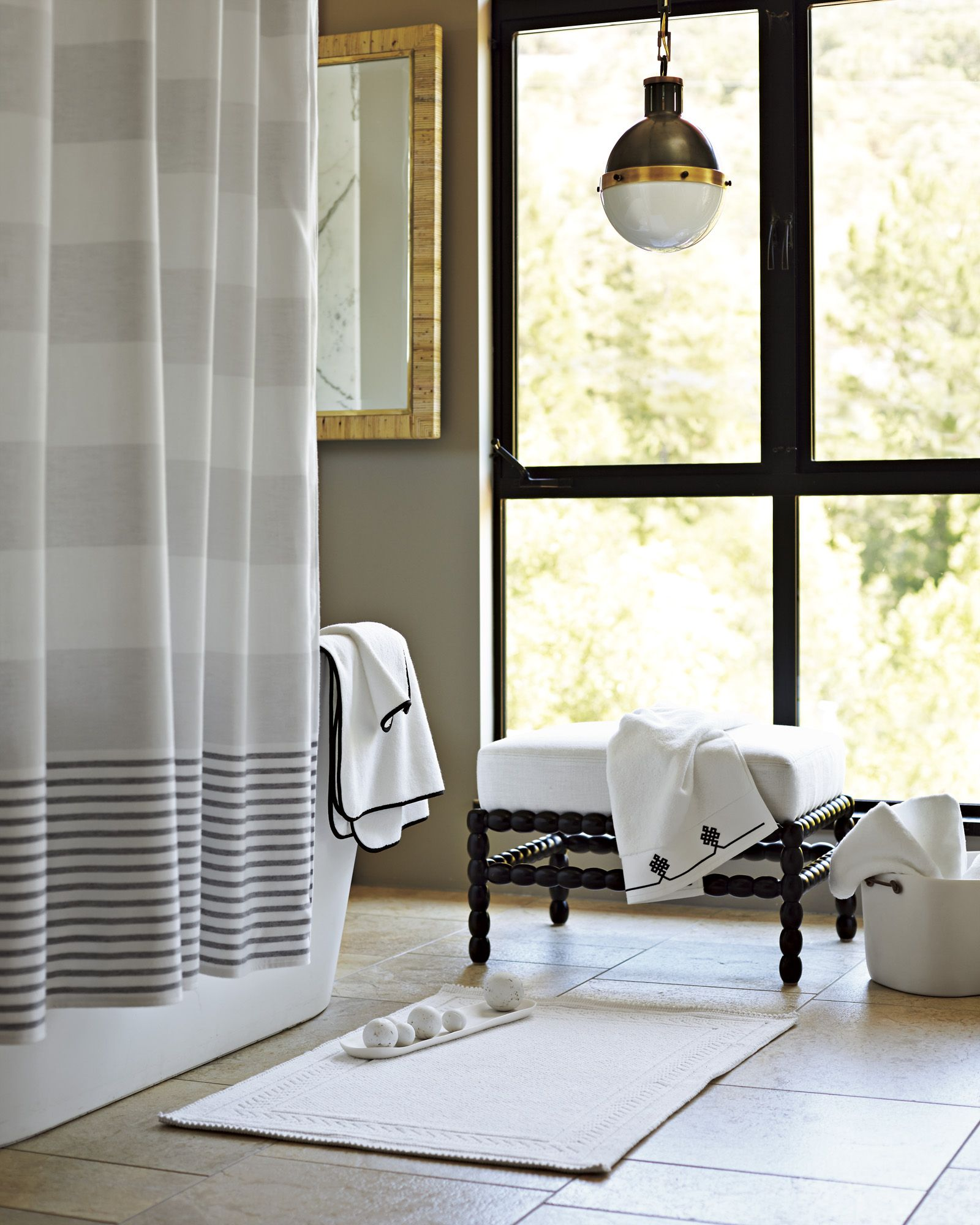 The Destination Bath. Fouta Shower Curtain, Chevron Border Bath ...