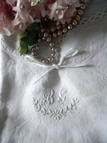 CHEMISE NIGHTGOWN LINEN EMBROIDERY MONOGRAM ANTIQUE FRENCH 19TH-CENTURY