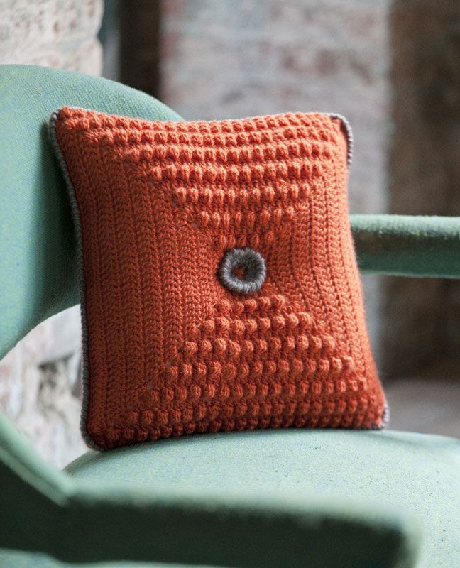 Crocheted Button Pillow. Designed by Linda Permann. Free pattern ...
