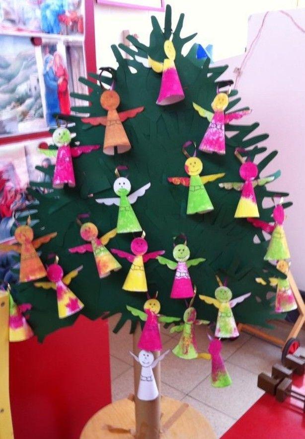 Een kerstboom gemaakt van kleuterhandjes, versierd met bestempelde ...