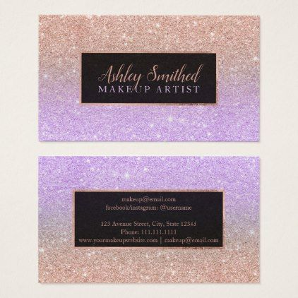 Typography rose gold glitter purple ombre makeup business card makeup business cards reheart Choice Image