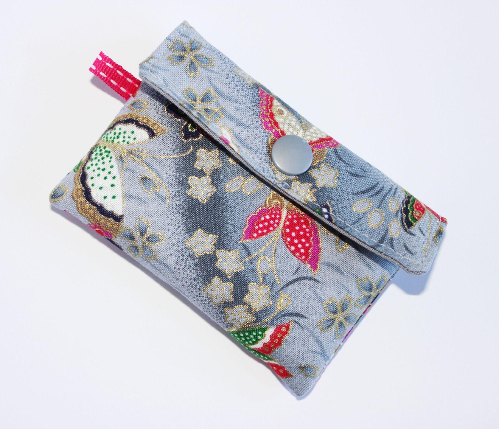 Porte Cartes Tissu Japonais Motifs Papillons Petit Format Grande - Porte carte de fidelite grande capacite