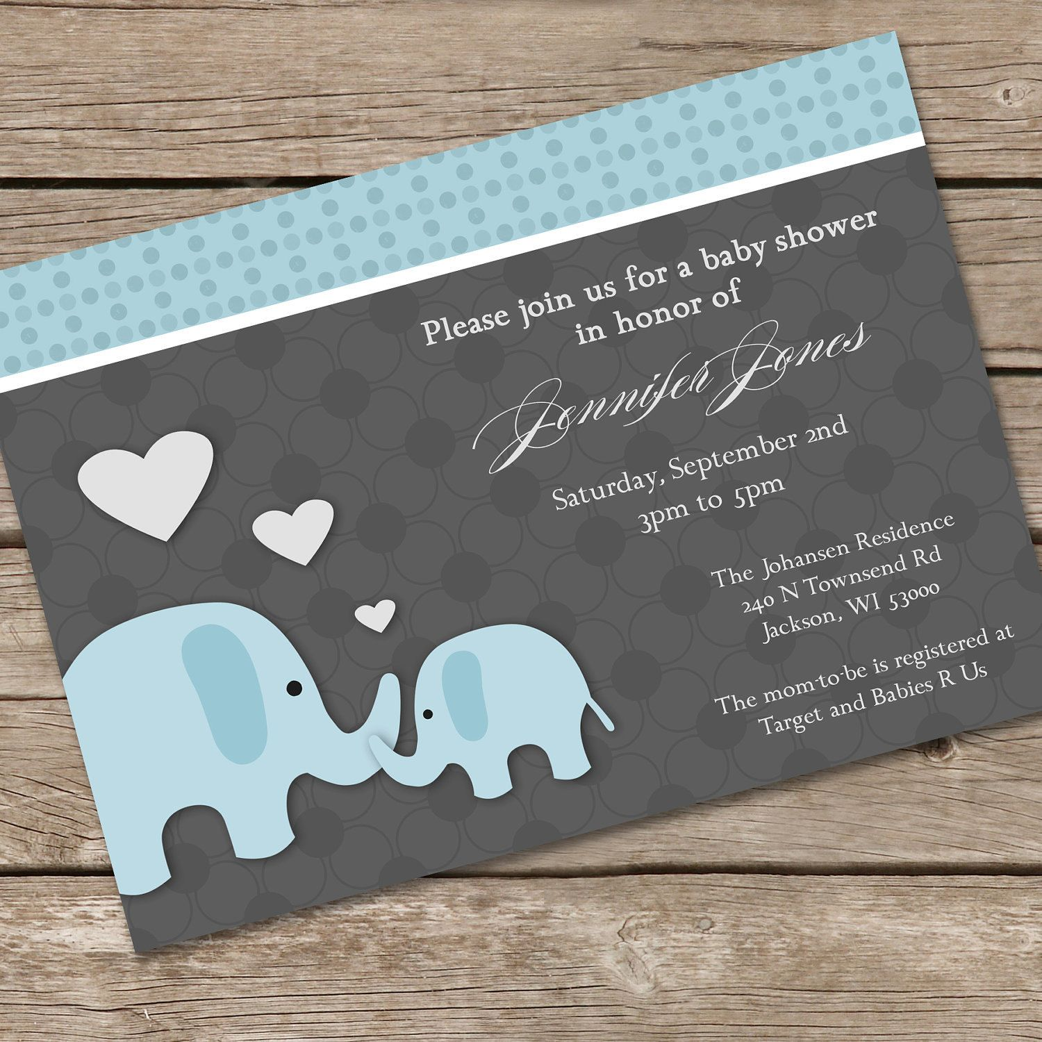 recipe themed bridal shower invitation wording%0A Loving Blue Elephants Baby Shower Invitation DIY Printable  i just like  the elephant shape