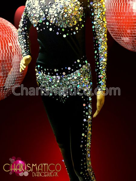 Showgirl/'s Illusion iridescent sequined bra and chaps dancing black catsuit