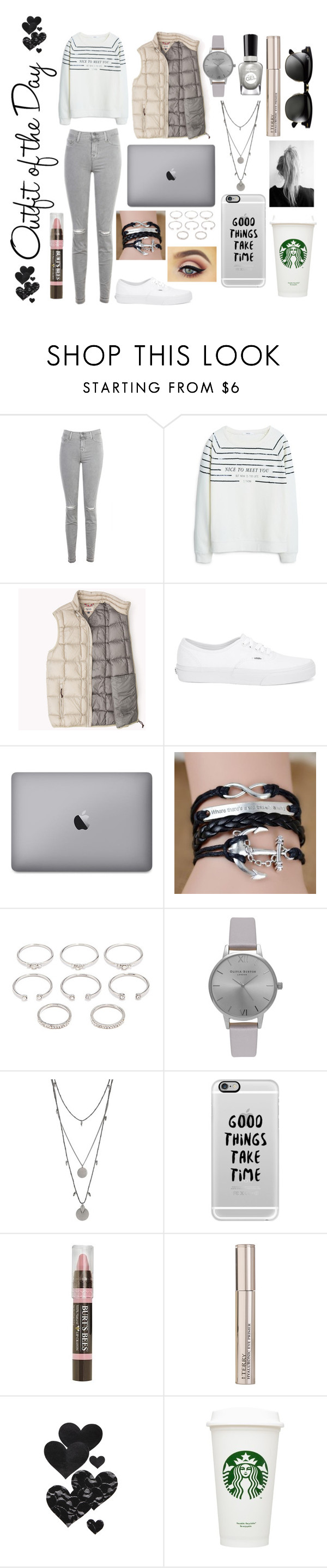 """""""OOTD"""" by bruh-with-sunglasses ❤ liked on Polyvore featuring Petit Bateau, J Brand, MANGO, Dolan, Vans, Forever 21, Olivia Burton, Vince Camuto, Casetify and Burt's Bees"""