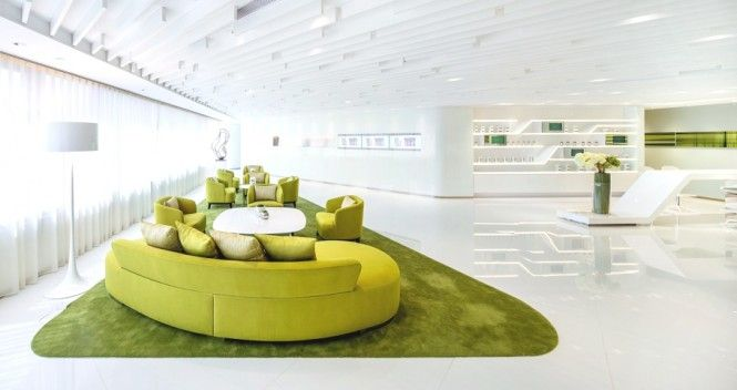 Lime green reception area green office design modern for Green office interior design