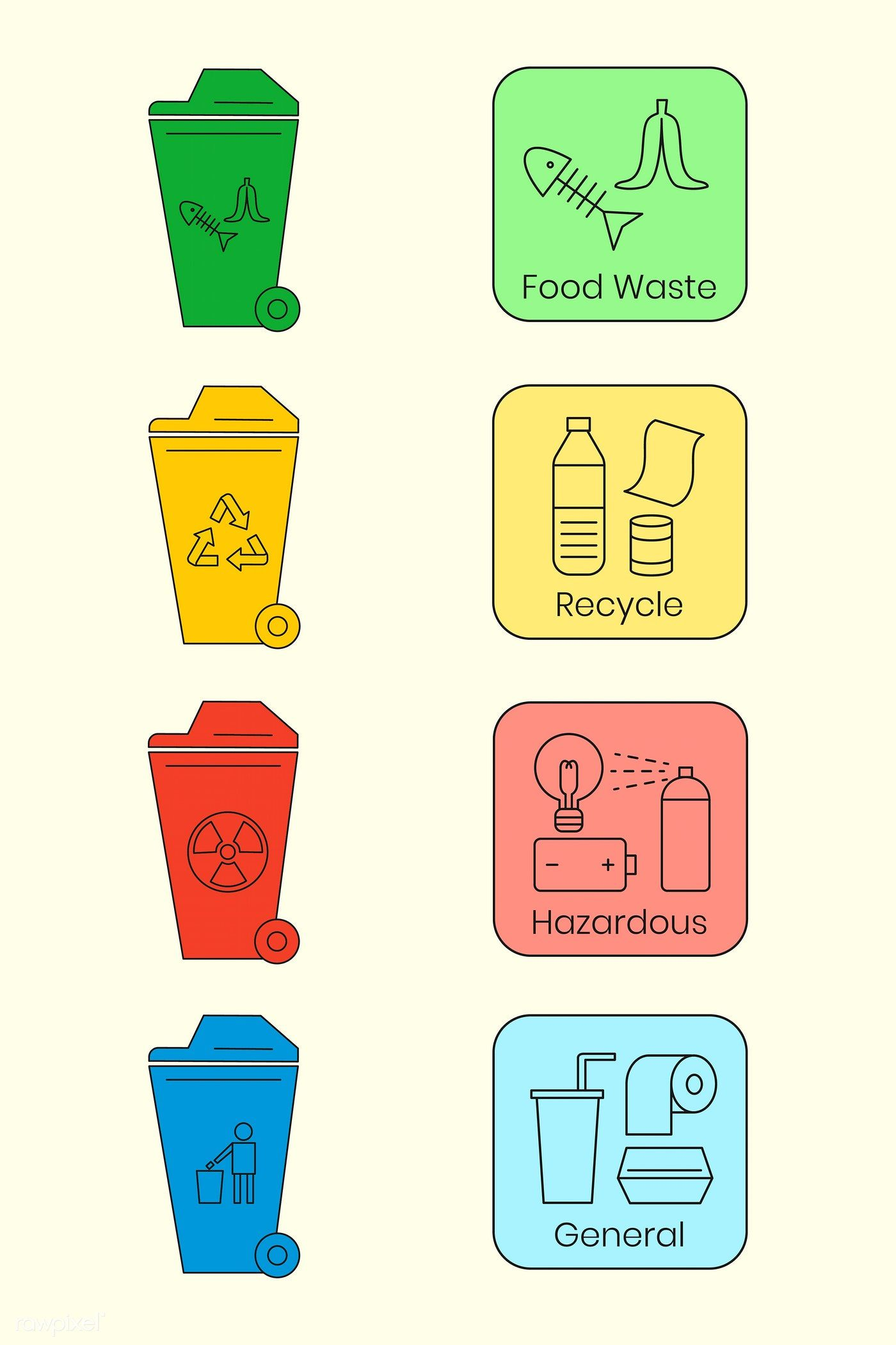 Waste management icon design elements vector set free