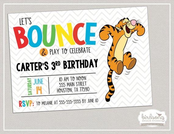 Tigger Birthday Invitation Winnie The Pooh Birthday Tigger