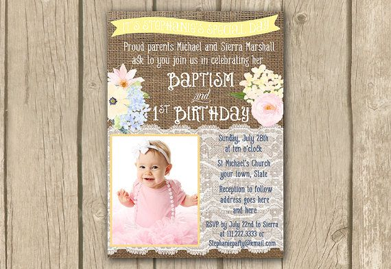 1st Birthday And Baptism Invitation Diy Printable Baptism Invite First Birthd Photo Birthday Invitations First Birthday Invitations 1st Birthday Invitations