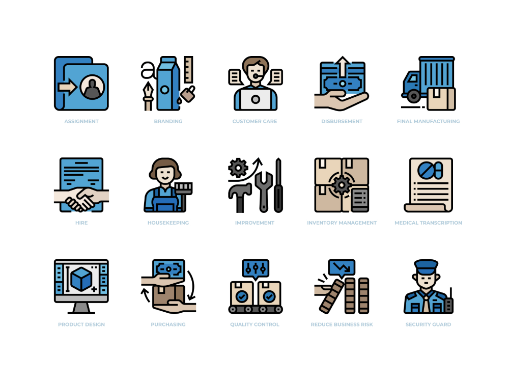 Business Process Outsourcing Icons Set Business Process Outsourcing Business Process Business Ideas Entrepreneur