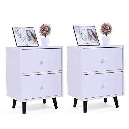 Amazon.com: LAZYMOON 2-Drawer Nightstand Bedside Cabinet ...