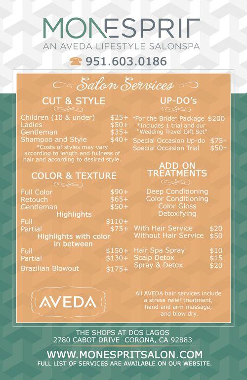 salon menu card by  justinthedesigner com