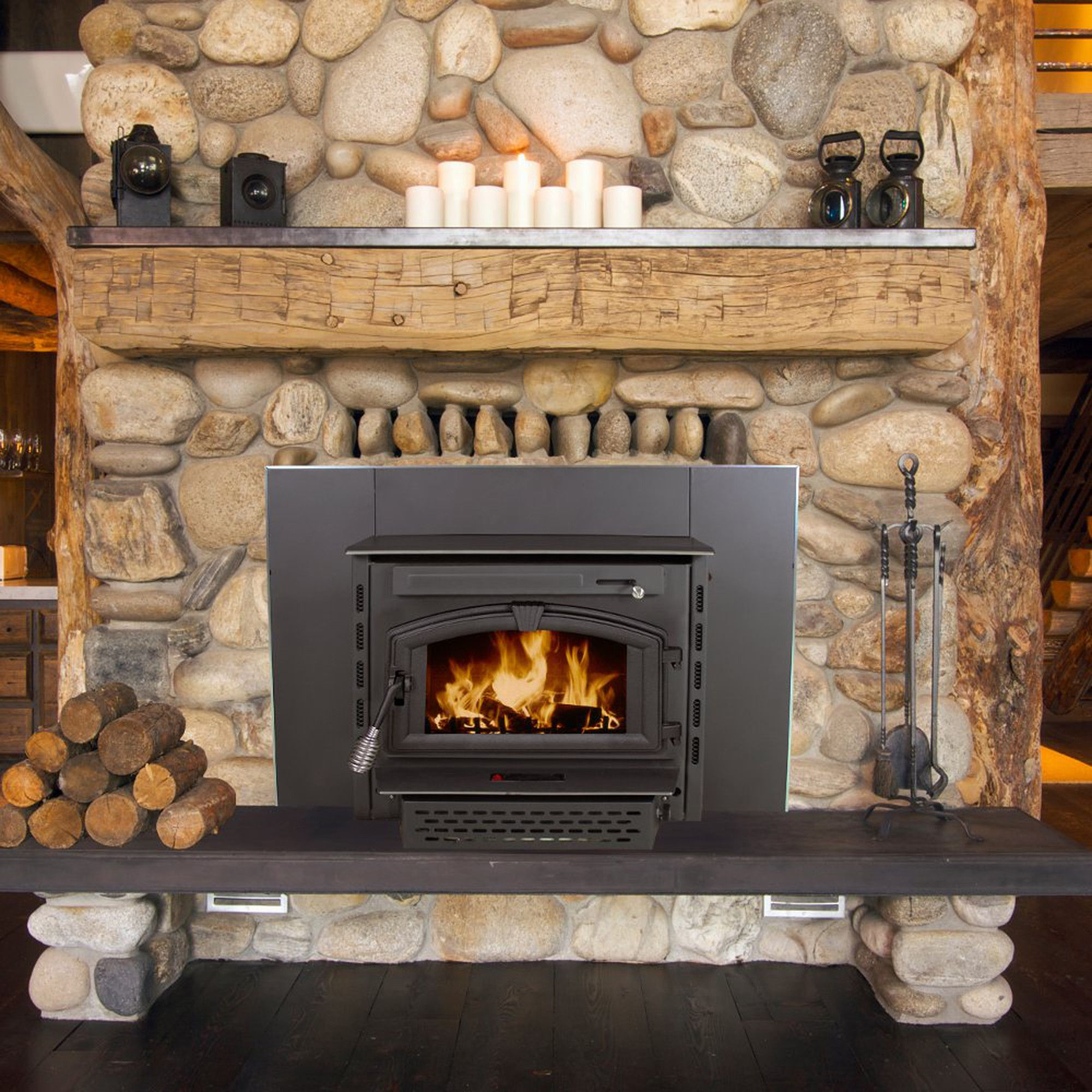 Recessed Wall Mounted Wood Burning Fireplace Insert Only
