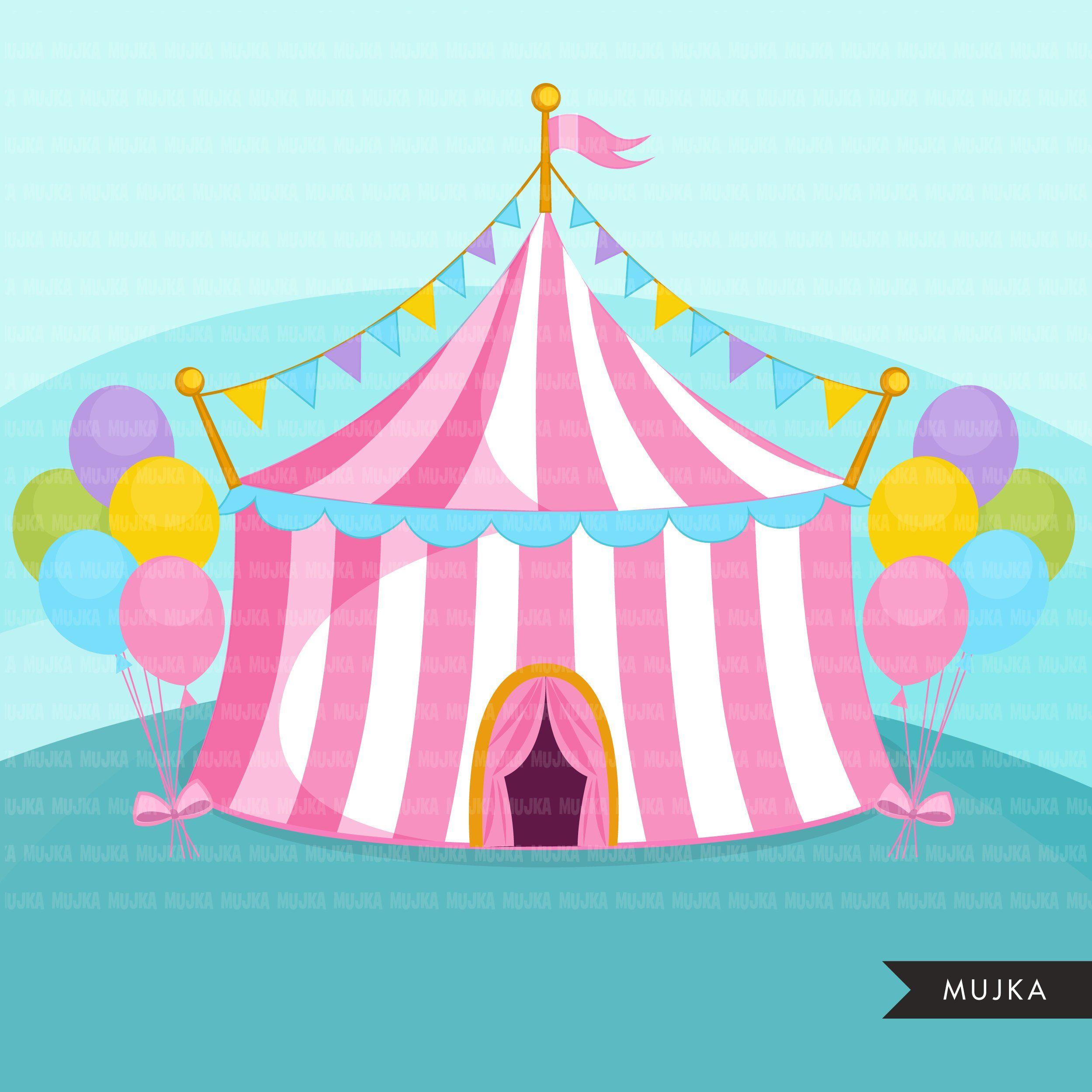 Circus Clipart Pastel Big Top Carnival Graphics Amusement Park Elephant Circus Act Monkey Magic Show Birthday Party Tent Design Clip Art Digital Sticker Digital Stamps