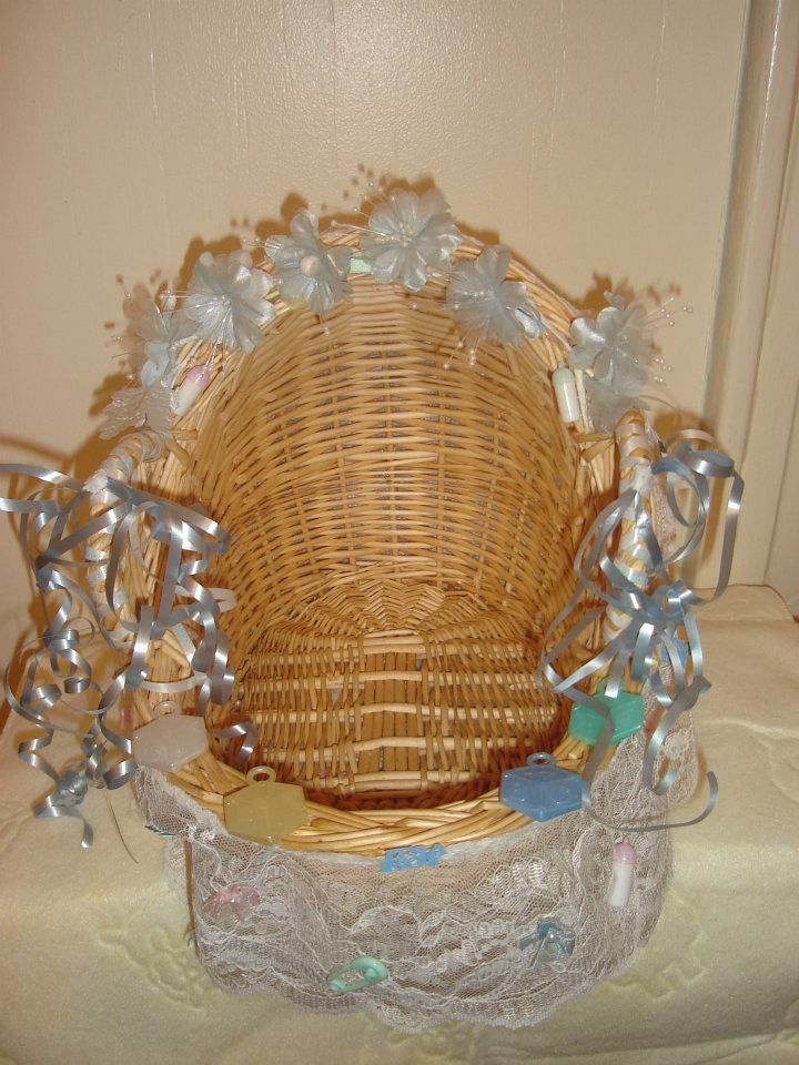 Decorated Wicker Basket For Baby Shower Give Away Or Porta
