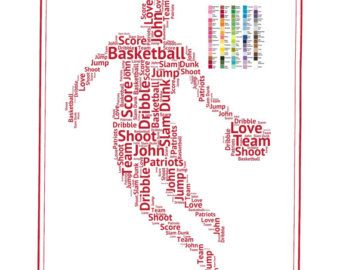 PERSONALISED BASKETBALL DUNKING BIRTHDAY CHRISTMAS GIFT PRESENT XMAS WORD ART
