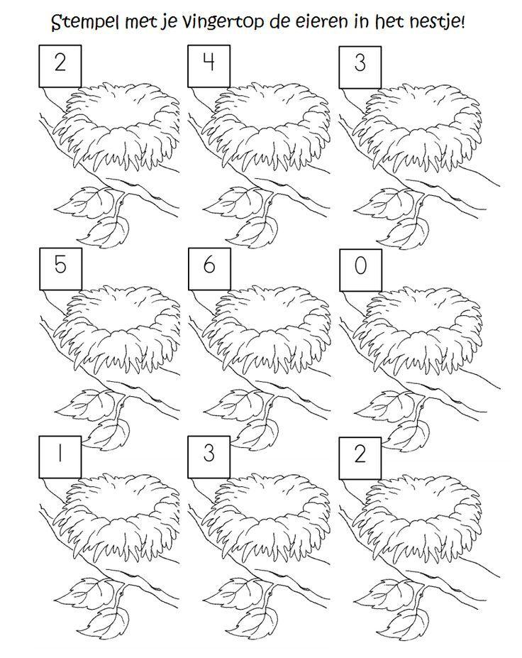 bird nest number count preschool printable worksheets vorschulideen arbeitsbl tter ostern. Black Bedroom Furniture Sets. Home Design Ideas