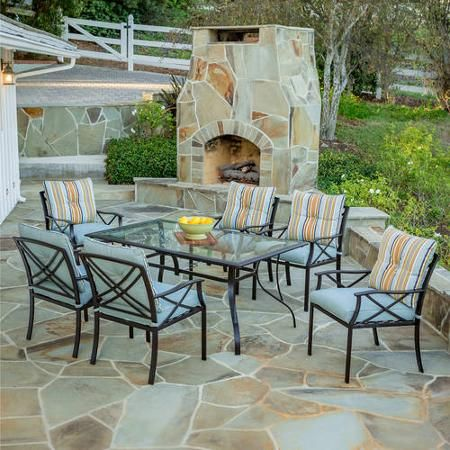 Redford 7Piece Patio Dining Set Seats 6 Walmartcom DeckPorch