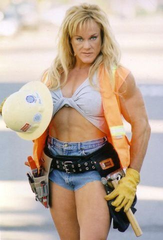 [Drew, off-screen] 'Jayne Trcka, please come out - Jayne Trcka,  bodybuilder!' [audience applauds thunderously]