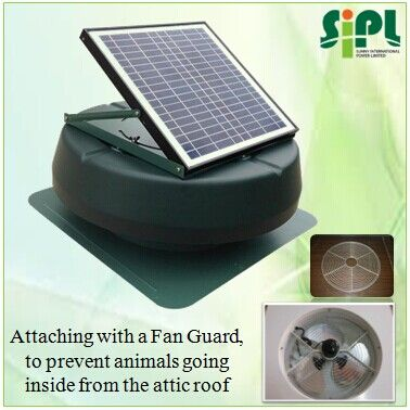 1 12 Inch Air Duct 2 12 Watt Solar Panel 3 1955 Cmh 1150 Cfm Air Flow 4 Round Metal House 5 Green So Solar Power Source Solar Attic Fan Solar Panels