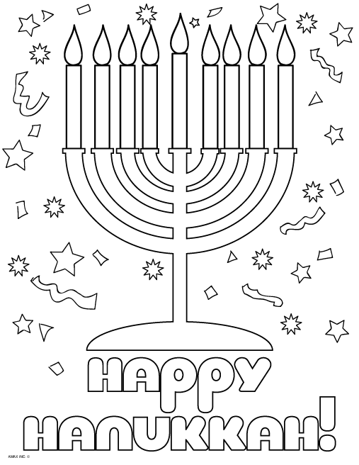 Happy Hanukkah Coloring Page - Classroom | Coloring: Holidays ...