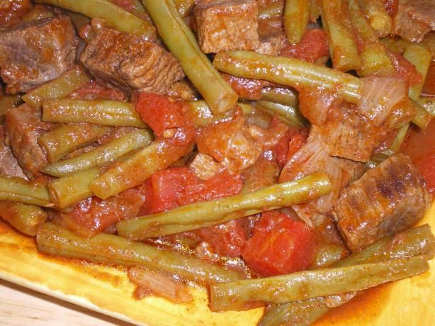 Arabic Green Beans With Beef Recipe Green Beans Beef Recipes