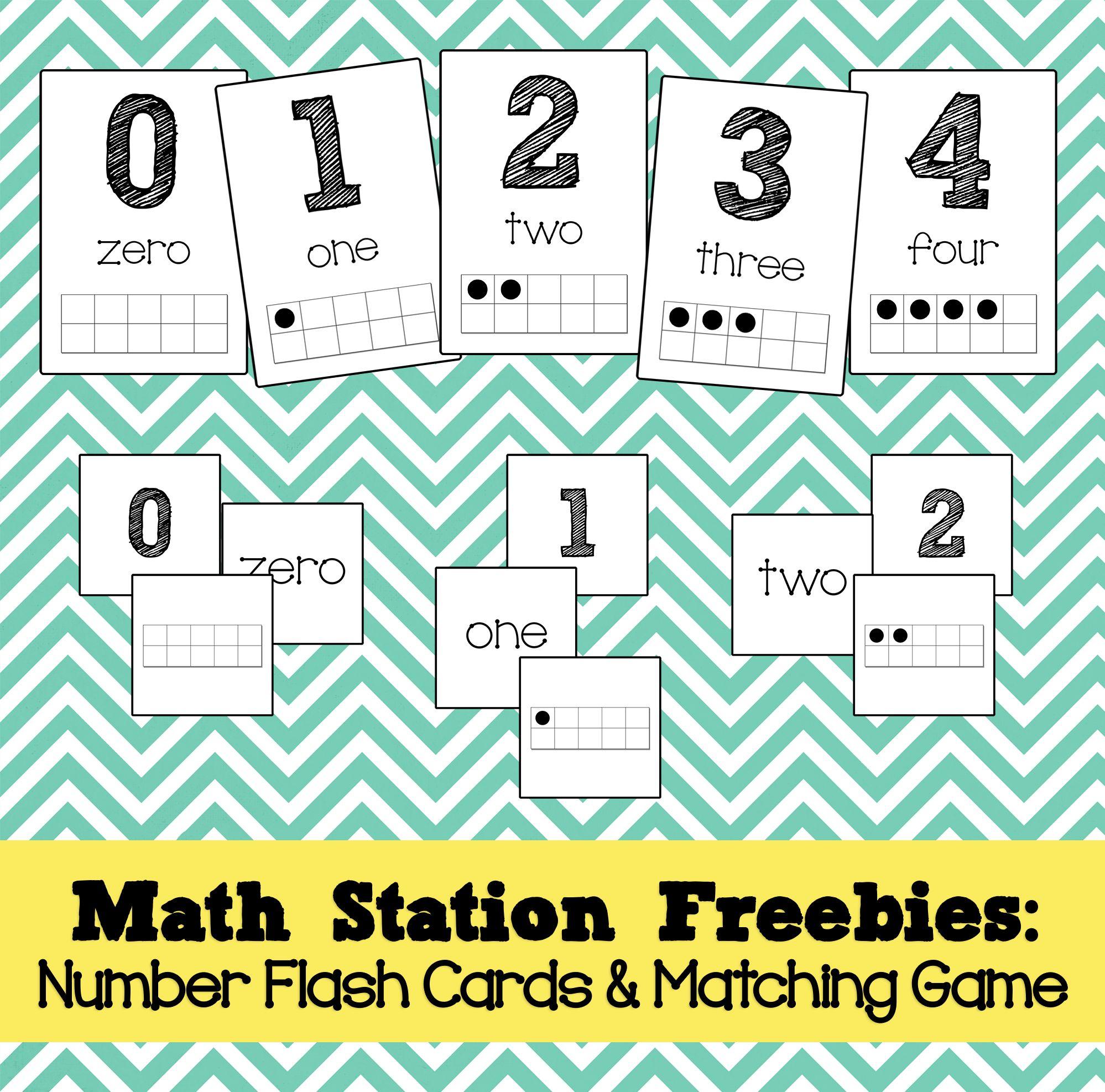 Math Station Freebies Number Flash Cards Amp Memory Game