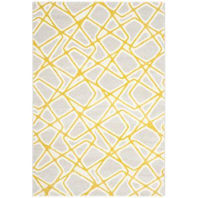 """Zipcode Design Nanette Light Gray / Yellow Area Rug Rug Size: 5'3"""" x 7'7"""""""