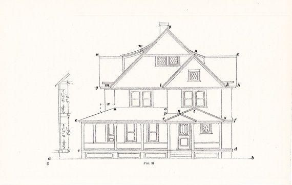 1907 Architecture House Print Vintage Antique Art by Holcroft - new old blueprint art