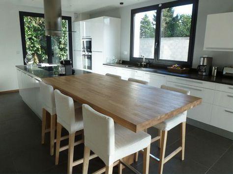 Admirable Hs cuisine ouverte : une grande table avec l'ilôt et pas de table WB-97