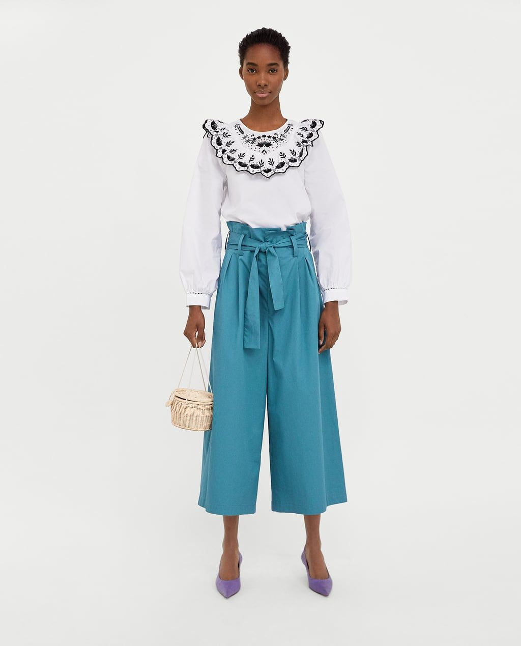 3afd09a1 BLOUSE WITH CONTRASTING EMBROIDERY-NEW IN-WOMAN | ZARA France ...