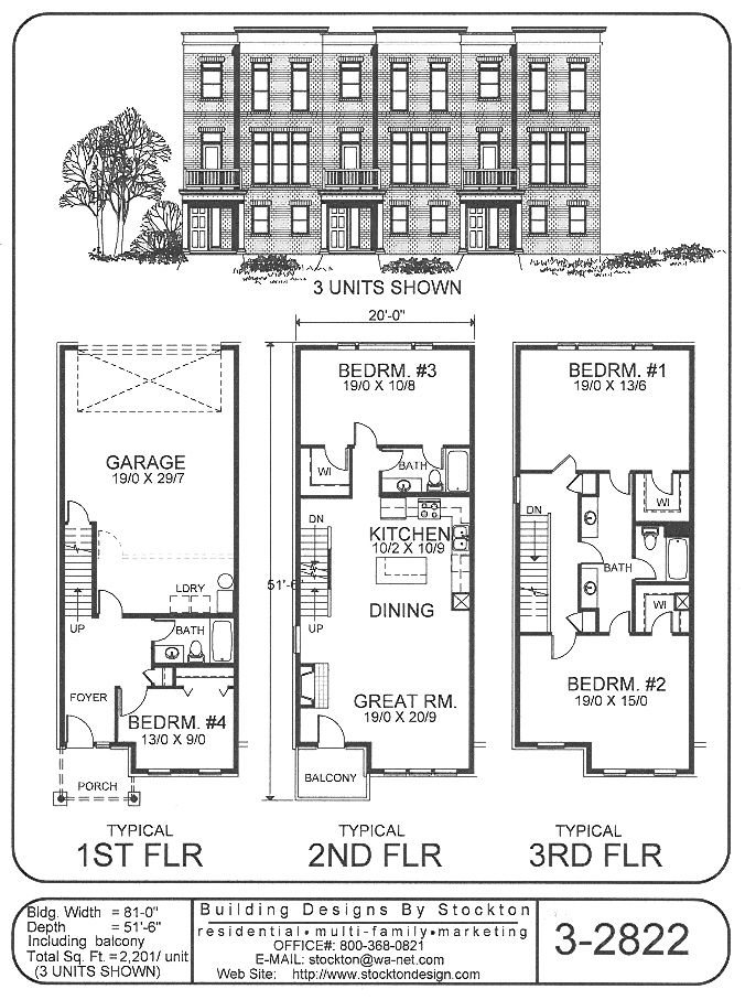 Building Designs By Stockton Plan 3 2822 In 2020 Town House Floor Plan Building Design How To Plan