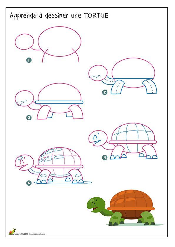 Apprendre dessiner une tortue m thode facile pour - Comment dessiner une tortue ...